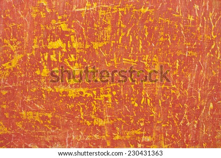 Bright red yellow orange abstract scraped scratched colorful paintwork - stock photo