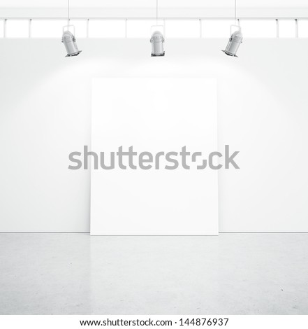 bright room and blank poster - stock photo