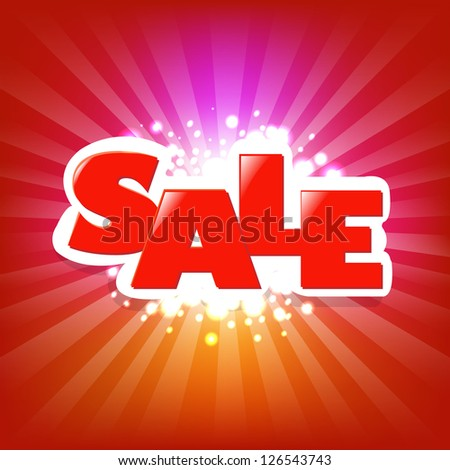 Bright Sale Poster With Blur - stock photo