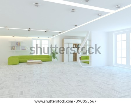 bright scandinavian interior design of living room with colored furniture - 3d illustration - stock photo