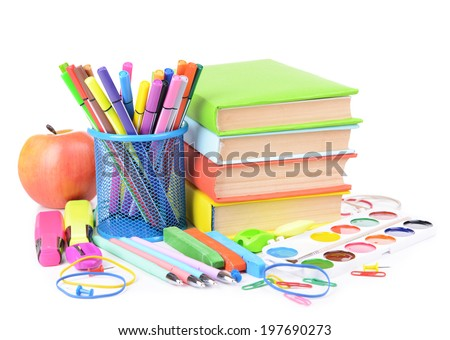 Bright school supplies isolated on white - stock photo