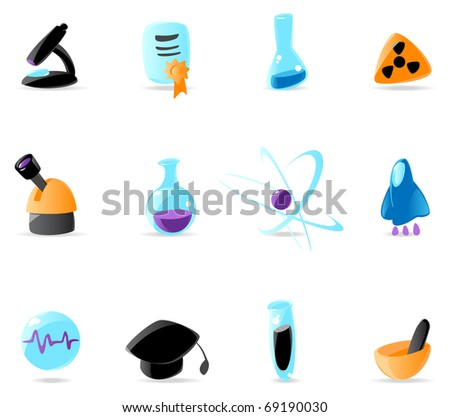 Bright science icons. Raster version. Vector version is also available. - stock photo