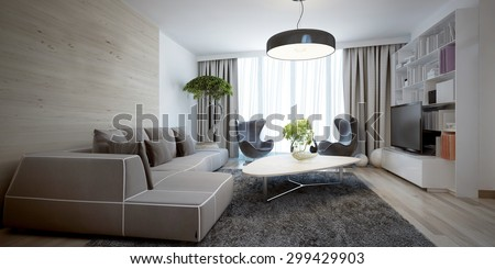 Bright sitting room contemporary trend. 3D render - stock photo