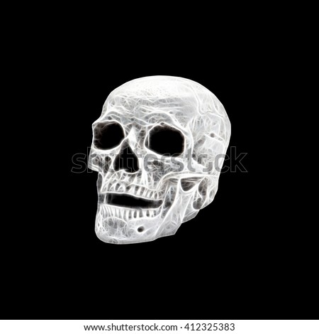 Bright Skull with neon color - stock photo
