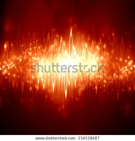 bright sound wave on a soft red background - stock photo