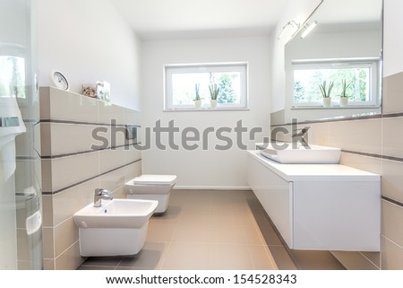 Bright space - a white bathroom with a washbasin, a bidet and a bowl - stock photo