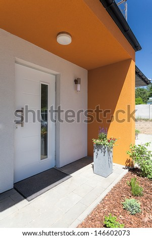 Bright space - an entrance to a modern mansion - stock photo