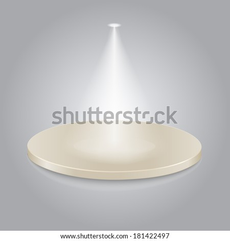 Bright stage with one spot lights - stock photo