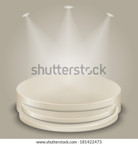 Bright stage with three spot lights - stock photo