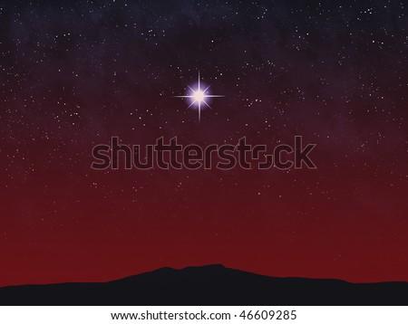 Bright star over horizon at sunset or sunrise. - stock photo