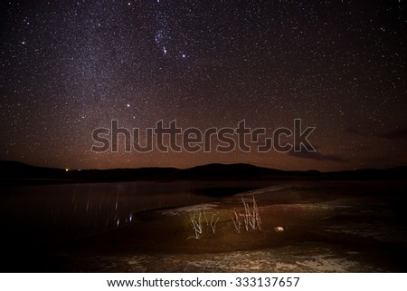 Bright Starry Night with Milky Way Night Landscapes  - stock photo