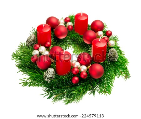 Bright studio shot of a nice advent wreath with baubles and four red candles, isolated on white - stock photo