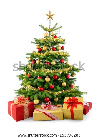 Bright studio shot of gift boxes in front of a gorgeous lush Christmas tree, decorated in red and gold, isolated on white background - stock photo