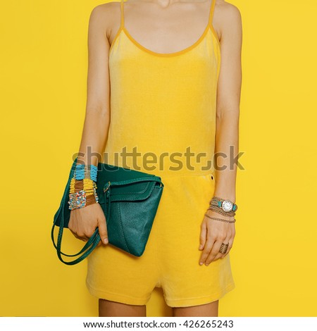 Bright Summer. Bright colors. Yellow and Green clothing Fashion Accessories Lady. - stock photo