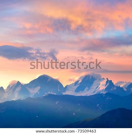 Bright sundown on mountain array. Composition of the nature - stock photo