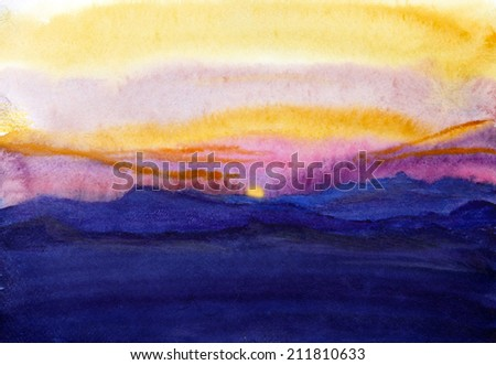 bright sunset in the mountains - stock photo