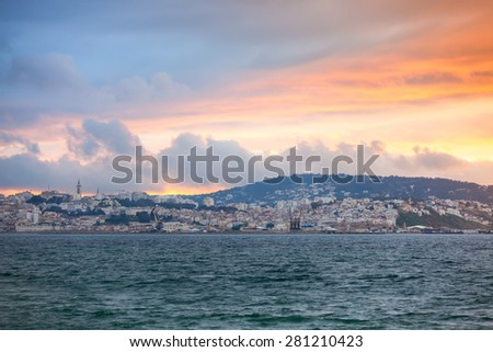 Bright sunset sky over Tangier city, Morocco, Africa - stock photo