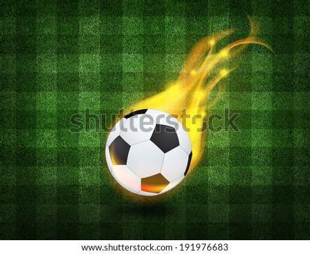 bright symbol on the soccer field background  - stock photo