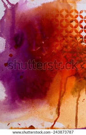 Bright watercolor background with volume patterns of the texture of pasta - stock photo
