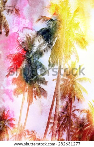 bright watercolor tropical forest palms on island - stock photo