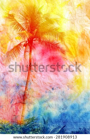 bright watercolor tropical palms on island - stock photo