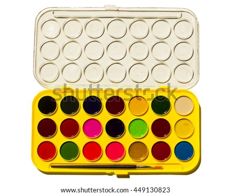 Bright watercolors in a box isoleted on white background - stock photo