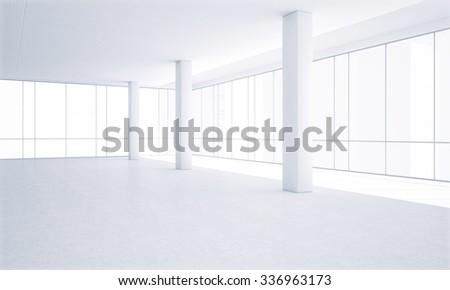 Bright white office interior - stock photo