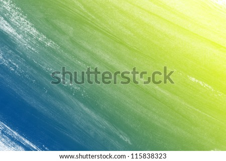 Bright yellow / blue hand painted brush stroke background - stock photo