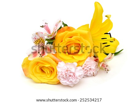 Bright yellow bouquet flower above, isolated on white  - stock photo