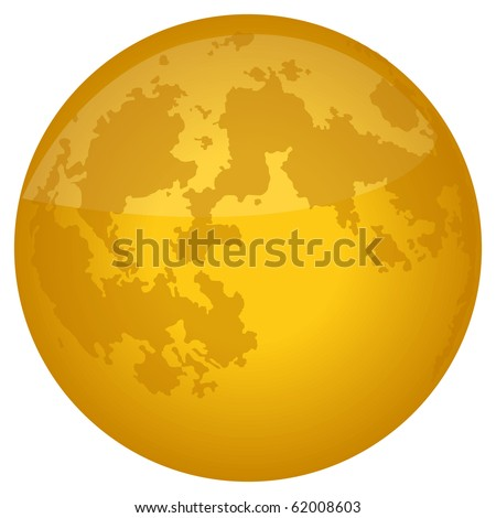 Bright Yellow Full Moon with Crater Detail - stock photo