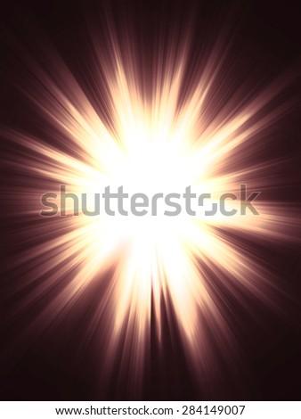 Bright yellow light burst, explosion on dark background. - stock photo