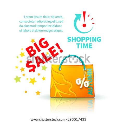 Bright yellow shopping bag with advertising seasonal autumn sale and trinket in form of percent  and icon shopping time - stock photo