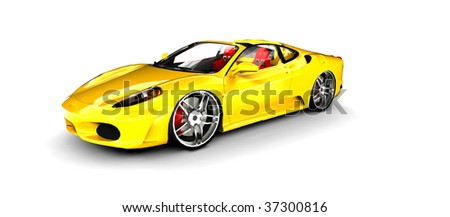 Bright Yellow Sports Car isolated on white - stock photo