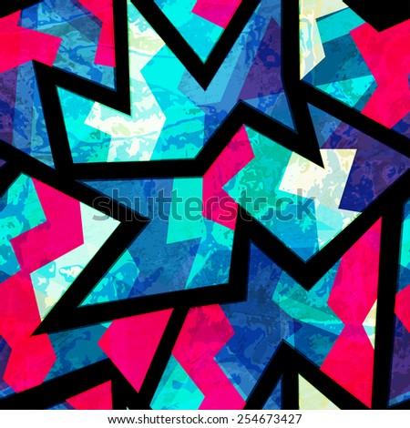 bright zigzag geometric seamless pattern (raster version) - stock photo