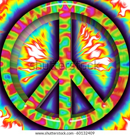 Brightly colored Peace sign - stock photo