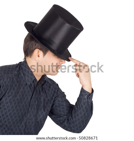 Brightly pictures of cheerful man in top cap (cylinder) - stock photo