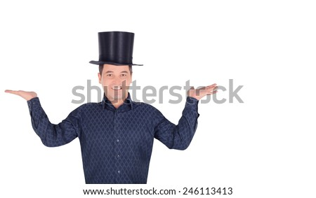 Brightly pictures of cheerful man in top hat cylinder - stock photo