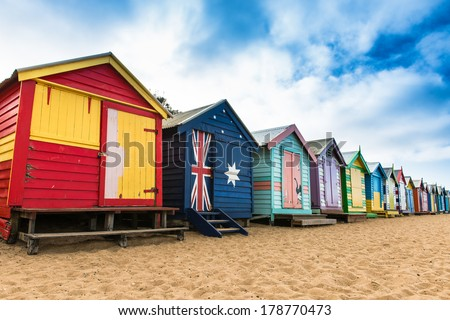 Brighton Beach Huts, Australia - stock photo