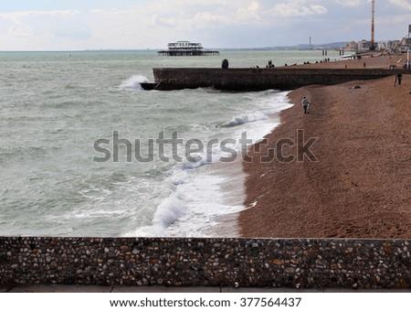 Brighton Beach, in the United Kingdom. - stock photo