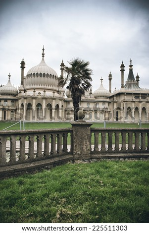 Brighton Palace Pavilion , a British Royal pleasure palace built in Indo-Saracenic style with ornate onion domes, columns and arches, a popular tourist destination - stock photo