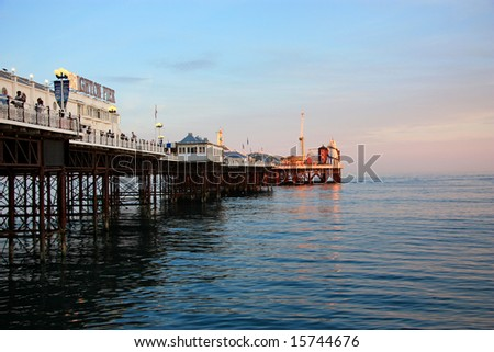 Brighton Palace Pier in the Evening - stock photo