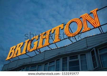 Brighton Pier Lights, England, UK - stock photo
