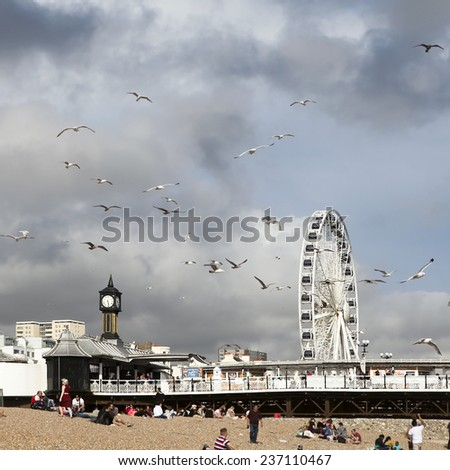 BRIGHTON UK - OCT 20: The Brighton Wheel in Brighton UK on Oct 20, 2013. The wheel was erected and currently has permission to operate until 2016. - stock photo