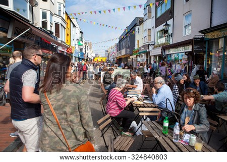 BRIGHTON, UNITED KINGDOM - OCTOBER 03 2015. Brighton's famous North Laines shopping lanes with over 400 independent shops attracting tourists from around the world - stock photo