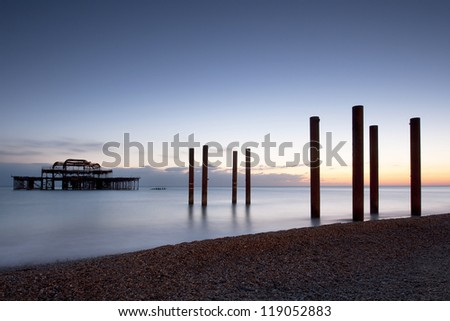 Brighton West Pier at Dusk - stock photo