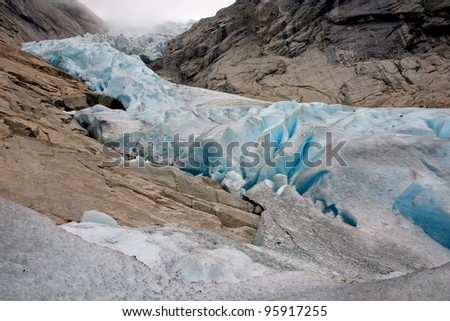 Briksdalsbreen glacier - stock photo
