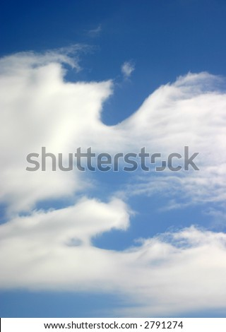 Brilliant Blue Sky with Abstract White Clouds - stock photo