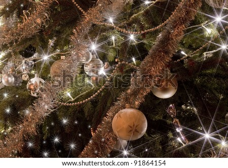 brilliant Christmas lights on the tree - stock photo