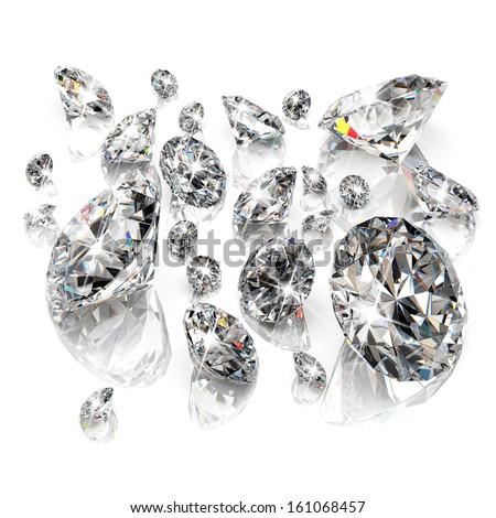 Brilliant diamonds isolated on white background - stock photo
