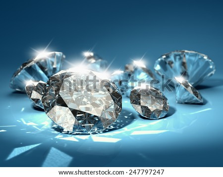 Brilliant diamonds on blue background - stock photo